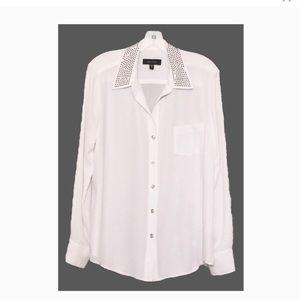 NWT Karen Kane studded collar blouse, white